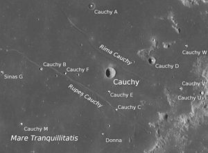 Cauchy (crater) - Selenographic features around Cauchy as well as its satellite craters and the small Donna Crater to the south