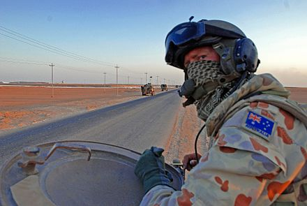 An Australian cavalry scout in Iraq in October 2007. Cavalry scout Iraq.jpg