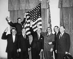 Ralph Julian Rivers - Rivers, at bottom left, celebrating Alaska becoming a state on January 3, 1959.  Behind Rivers is Bob Atwood.  To his left are Fred Seaton, Ernest Gruening, Bob Bartlett, Mike Stepovich and Waino Hendrickson.