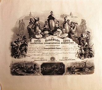 Centennial Exposition - Share of the Centennial Board of Finance from the 18. August 1875 for the Centennial International Exhibition 1876