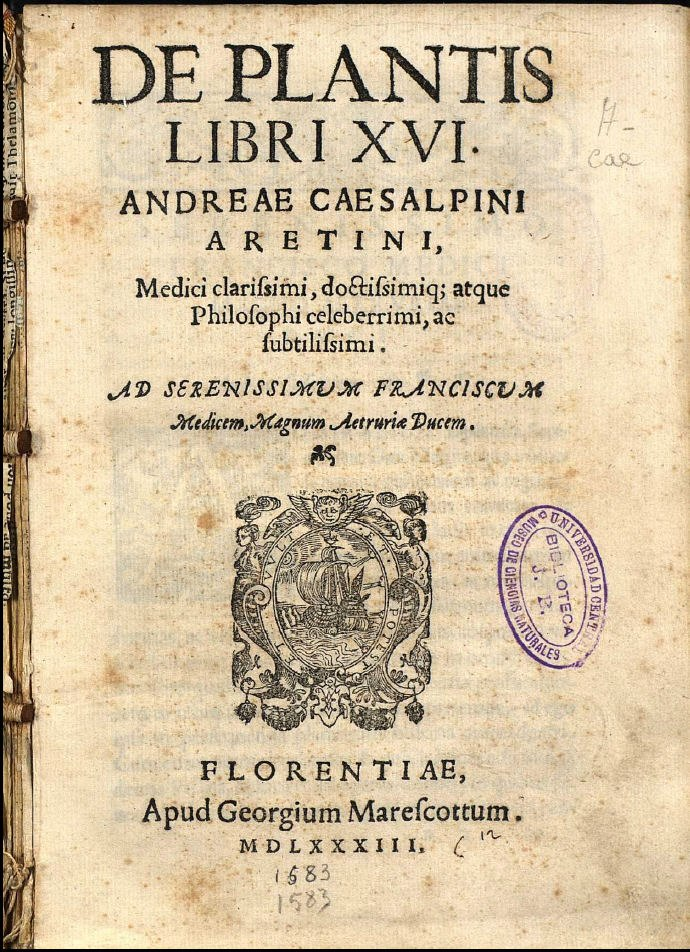 Cesalpino De Plantis Libri XVI 1583 titlepage