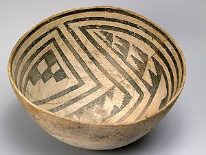 Bowl - Painted pottery bowl, c. 10th century AD, from Chaco Canyon, USA