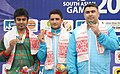 Chain Singh of India won Gold Medal, M Chowdhury of Bangladesh won Silver Medal and Gagan Narang of India won Bronze Medal in the 10m Air Rifle Men's Individual event, at the 12th South Asian Games-2016, in Guwahati.jpg