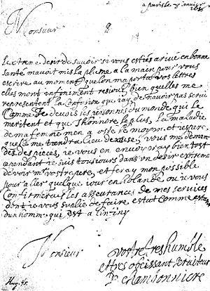 Jacques Champion de Chambonnières - Chambonnières's only extant letter, to Christiaan Huygens. Dated 8 January 1656, it shows Chambonnières's continuing interest in making a journey to the north.