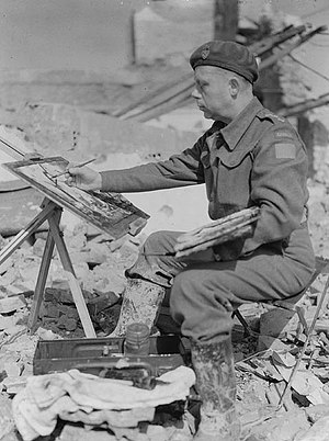 Charles Comfort - Comfort painting in the area around Ortona, Italy, on duty as a World War II war artist.