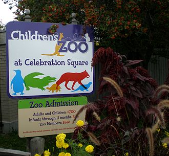 Children's Zoo at Celebration Square - Entrance sign at zoo