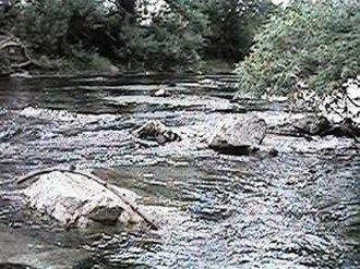 Chino Creek - View downstream from Central Avenue bridge in Chino Hills