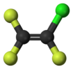 Ball-and-stick model of chlorotrifluoroethylene