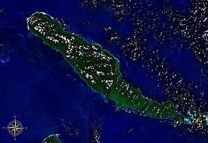 Outline of the Solomon Islands - An enlargeable satellite image of Choiseul Island