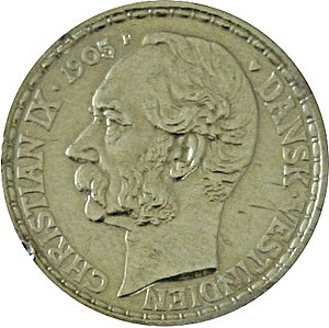 Danish West Indies - A 1905 gold 20 Franc coin of the Danish West Indies, depicting Christian IX of Denmark.