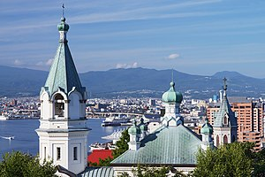 Hakodate Orthodox Church and Hakodate City view