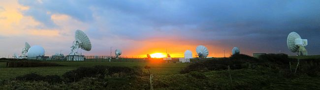 Facing east, sunrise at GCHQ Bude