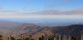Appalachian Trail by state - View (north) from the summit of Clingmans Dome