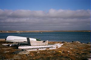 Clyde River, Nunavut - Beached komatiks at Clyde River.