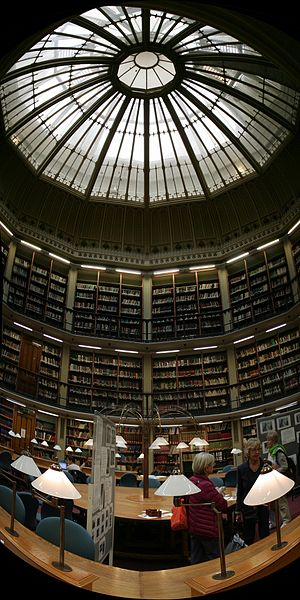 Academic library - The round reading room of Maughan Library, the main university library of King's College London