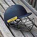 Cockfosters Cricket Club blue cricket helmet at Cockfosters, London, England.jpg