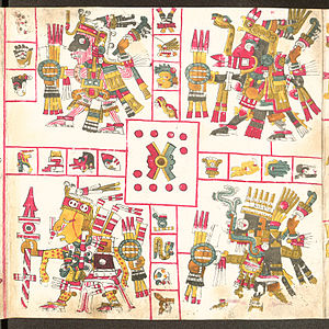 Aztec mythology - Patterns of War; (1a) Tlaloc, (1b) Xiuhtecuhtli, (2a) Mixcoatl, (2b) Xipe-Totec.