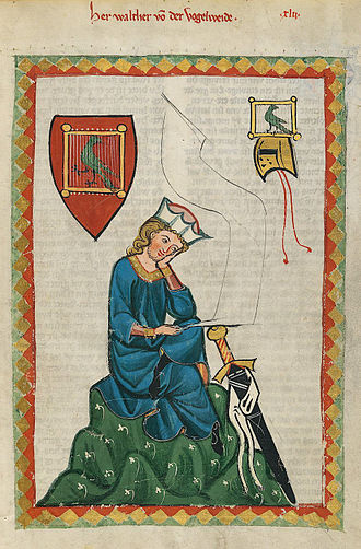 Medieval German literature - Portrait of Walther von der Vogelweide, the most celebrated of all medieval German lyric poets, from the Codex Manesse