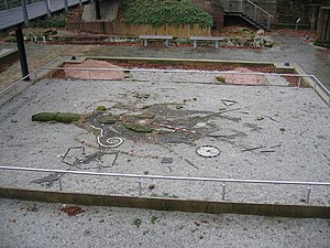 History of Coventry - This artwork is laid out in the excavated remains in Priory Gardens and is said to depict Coffa's Tree from which Coventry may have derived its name.