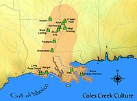 Coles Creek culture map HRoe 2010