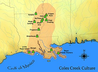 History of Louisiana - A map showing the extent of the Coles Creek cultural period and some important sites