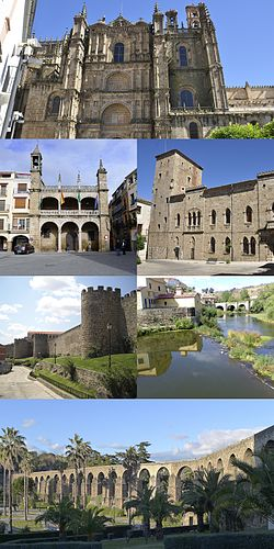 Top:Plasencia Nova Cathedral, Second left:Casa Consistorial (Consistorial House), Second right:Palacio dos Monroy (Monroy Palace), Third left:Muralhas de Plasencia (Plasencia Defensive Wall), Third right:Jerte River, Bottom:Apueduto de San Anton (Aqueduct of San Anton)