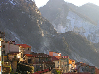 Colonnata - View of Colonnata and Apuan Alps