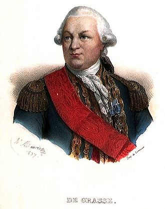 Battle of the Chesapeake - François Joseph Paul, comte de Grasse, coloured engraving by Antoine Maurin