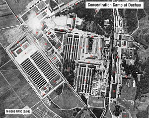 Sigismund Payne Best - Aerial view of Dachau concentration camp.