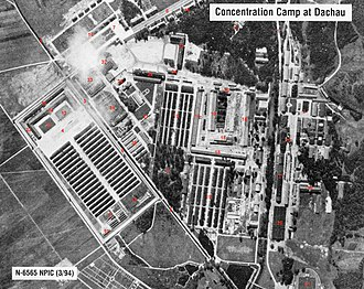Dachau concentration camp - Aerial photo of the Dachau complex with the actual concentration camp on the left