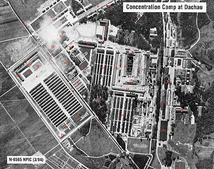 Aerial photo of the Dachau complex with the actual concentration camp on the left