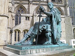 Constantine the Great Statue in York, commissioned in 1998 and sculptured by Philip Jackson, Eboracum, York, England (7643911290).jpg