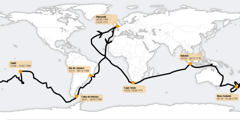 Primer viaje de James Cook - Wikipedia, la enciclopedia libre