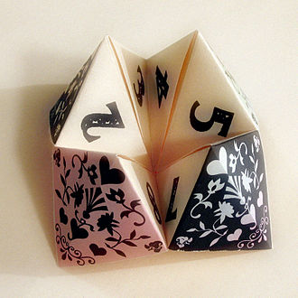 Action origami - A decorated paper fortune teller.