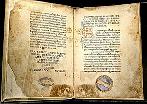 Hermetica - Corpus Hermeticum: first Latin edition, by Marsilio Ficino, 1471 AD, an edition which belonged formerly to the Bibliotheca Philosophica Hermetica, Amsterdam.