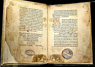 Marsilio Ficino - Corpus Hermeticum: first edition, by Marsilio Ficino, 1471 CE, at the Bibliotheca Philosophica Hermetica, Amsterdam.