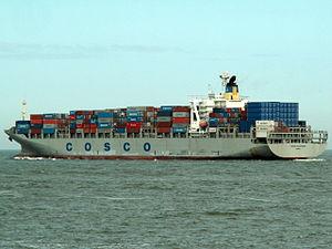 Cosco Felixtowe p2, leaving Port of Rotterdam, Holland 17-Apr-2006.jpg