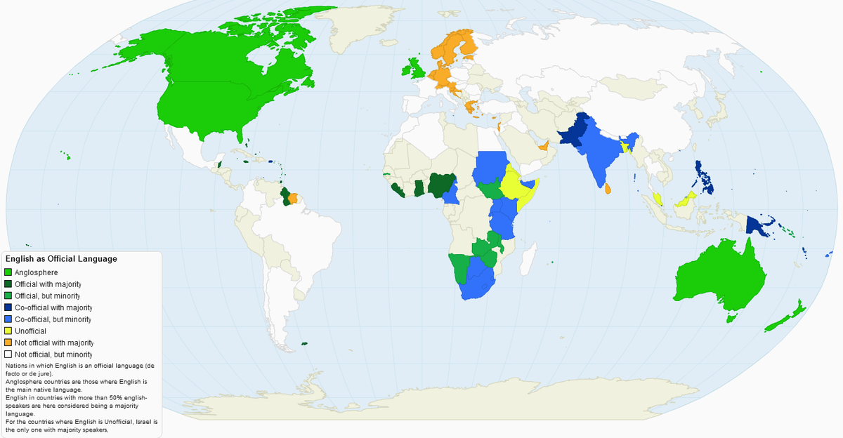 Englishspeaking World Wikipedia - Languages spoken by country