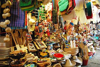Mexican handcrafts and folk art - Wood and fiber crafts for sale at the municipal market in Pátzcuaro.
