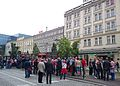 Croatian fans are going to match with Italy. Poznan EURO2012.jpg