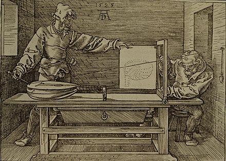 eine dem raytracing ahnliche technik wird zum zeichnen einer laute angewandt holzschnitt von albrecht durer