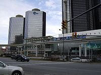 People Mover train  comes into the Renaissance Center station.