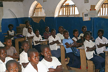 Primary school students in a classroom in the ...