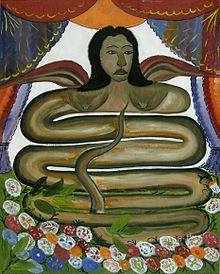 Painting of Damballah La Flambeau as a winged snake-woman.