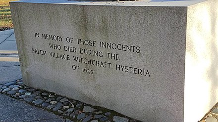 Memorial to the Victims of the Witch Trials, Principal Inscription, Danvers, Massachusetts Danvers victims memorial, principal inscription.jpg