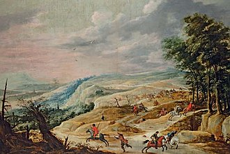 Pieter Meulener - Image: David Teniers II and Pieter Meulener An extensive landscape with a cavalry skirmish on a ridge