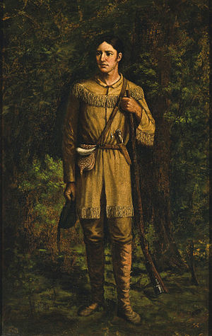 Logrolling - Davy Crockett by William Henry Huddle, 1889.