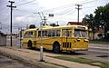 Dayton Pullman trolley bus at Keowee & Leo, 1968.jpg