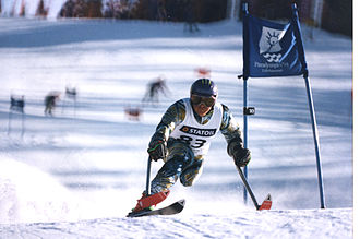 Australia at the 1992 Winter Paralympics - Example of standing skiing by Michael Milton