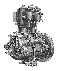 de dion-bouton engine from about 1905, in which can clearly be seen a  discrete crankcase with upper and lower halves (each a casting), with the  bottom half